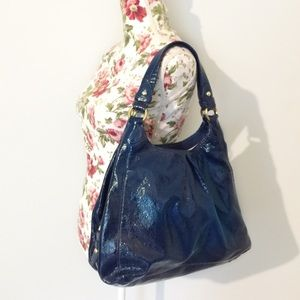 Coach Maggie Blue Patent Leather Large Hobo Bag